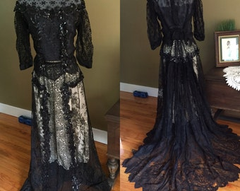 Edwardian Black Chantilly Lace Bodice and Skirt