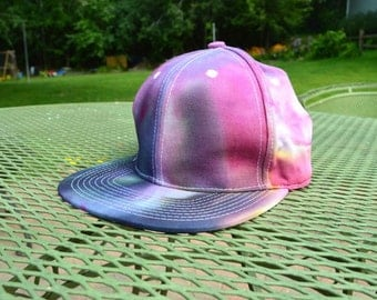 Grey, Pink & Purple Hand Dyed Snapback Hat