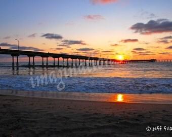 San Diego California Ocean Beach Pier Sunset Photography Digital Download