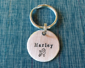 Medium Pet Tag - Custom Name with Poodle- 1 inch Custom Pet ID Tag - Handstamped aluminum - Dog ID Tag - Cat ID Tag - Name and Phone Number