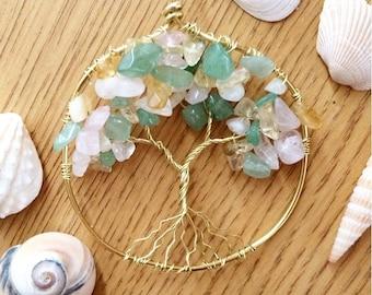 Rose Quartz, Light Aventurine, and Citrine Tree of Life Necklace