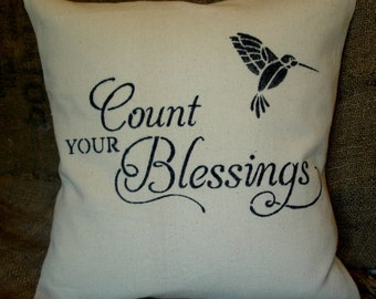 Canvas Stenciled Pillow - Scripture