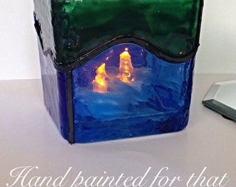Custom Hand Painted Large Blue Green Waves Square Faux Stained Glass Candle Holder By Nickole Schmidt for WimsicalGlassography