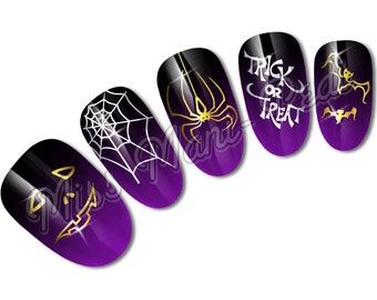 Nail Art Water Slide Transfers Decals Metallic Gold or Silver Halloween, Pumpkin Faces, Spider's Webs, Bats, Trick or Treat C049
