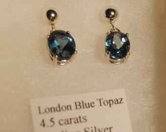 London Blue Topaz Faceted Oval Sterling Silver Ball Post Dangle Earrings