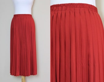 Burnt Red/Rust Colored Mid-Length Pleated Skirt