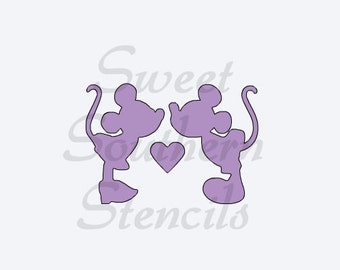 Mice About to Kiss Cookie Stencil