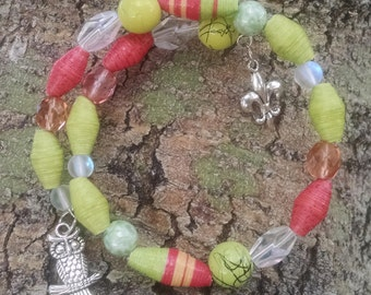 Lime Green and Coral Bangle Wrap Bracelet (BW3)