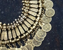 Silver Boho Chic Gypsy Bohemian Turkish Coin Necklace Coachella