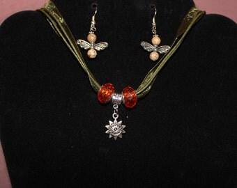 sunburst and angel earrings