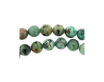 48 beads wire round 8mm 8 mm spotted African turquoise