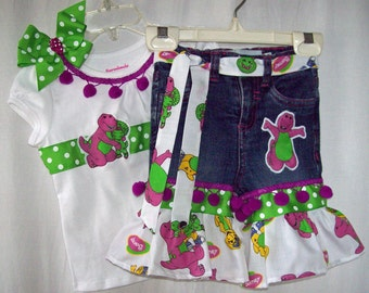 Custom boutique little girls Barney jeans & ribbon shirt set sizes 12 mo. -5T