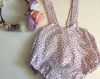 Romantic lilac floral suspenders