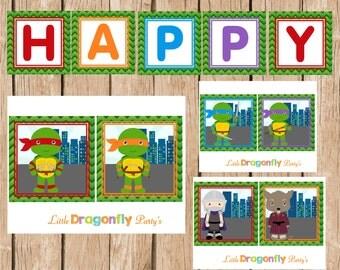 TMNT Happy Birthday Banner, Printable, Instant Download