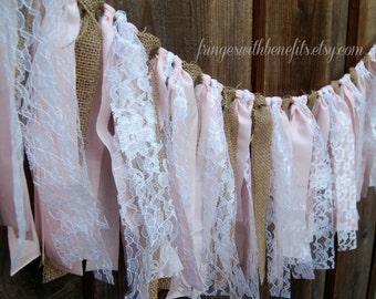 WEDDING GARLAND - White Lace Pink Linen & Natural Burlap, Rag Tie Garland, Rustic Wedding, Boho Wedding, Shabby Chic Wedding Decor