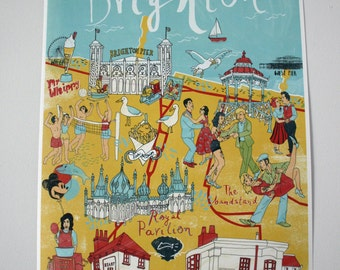 Illustrated Map of Brighton, Print