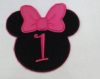 Custom Number Minnie Mouse Inspired Applique Iron On Patch Large Size 5x5!