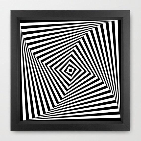 Geometric print optical illusion print abstract art print for Geometric illusion art