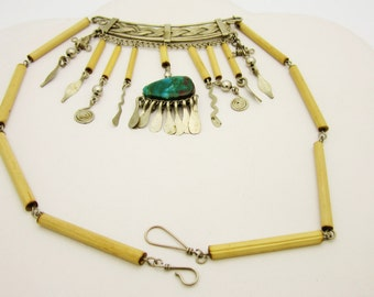 Egyptian Turquoise BELLY DANCER 9 Inch CHOKER Necklace Made Of Silver And Wood