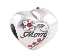 Authentic sterling silver hearts and mom charm fits pandora bracelet jewelry