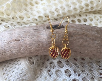 Red seaglass in gold cage earrings