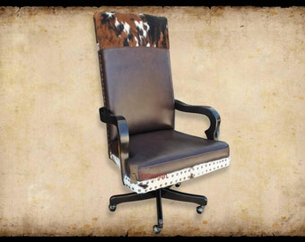 El Patron Western Office Chair with Cowhide