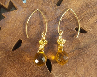 Unique Earrings Gold Plated & Faceted Honey Citrine dangle earrings