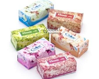 6pc/Set - Dollhouse Miniatures Kleenex & Cellox Tissue Paper Box