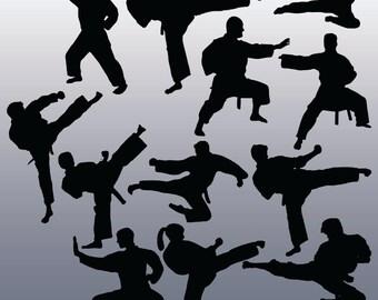 12 Karate Silhouette Clipart Images, Clipart Design Elements, Instant Download, Black Silhouette Clip art