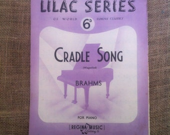 SALE WAS 4 Vintage Sheet Music. Brahms Cradle Song (Wiegelied) 1930s, 30s For Piano
