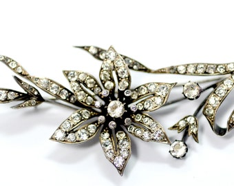 Stunning Large Victorian Paste Floral Pin Brooch