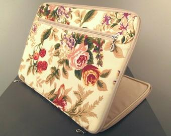 "Laptop case,13 laptop sleeve,10-17"" laptop cover,floral,beige cotton,customized lining,zipper pocket,roses,pink,flower,macbook pro case 13"