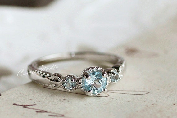 Natural Sky Blue Topaz Ring Topaz Engagement Ring By