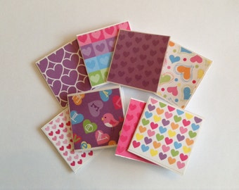 mini cards, valentines day cards, thank you notes, heart love notes, gift cards, assorted love cards