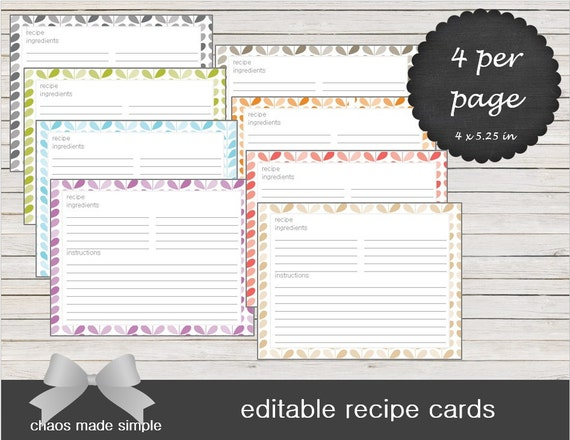 editable recipe cards meal planning recipes by chaosmadesimple
