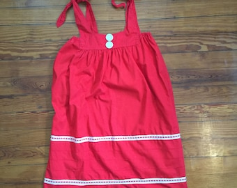 Bright Red 70's Smock Dress