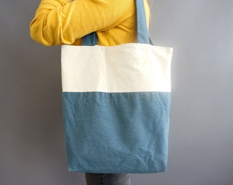 Tote bag - simple blue-white