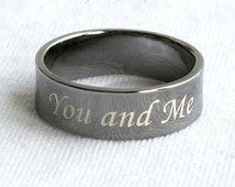 6 mm PERSONALIZE ENGRAVED RING,Black Gold, Engraved Ring, Customized Ring,Custom engrave ring,engraving ring,Silver Black Ring