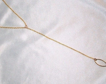 SALE 10.00  Reg 22.00  Dainty 14k Gold Filled Y Necklace with Oval Pendant * SIMPLE * Minimal * DELICATE * Great for layering *