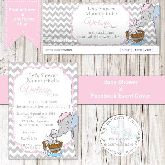 sweet dumbo baby shower invite digital file by sherasdesignsbyfff