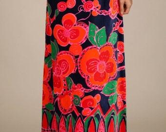 Bold floral print A-line skirt