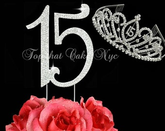 Large Quinceanera Diamante 15 Birthday cake topper in crystal rhinestones and Quinceanera jewel tiara