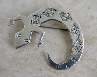 Three Smokes Lizard Gecko Pin Brooch Sterling Silver Jewelry Southwestern