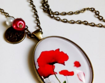 long necklace * poppy style Watercolour * been nature red white flower, cabochon glass
