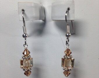 Topaz Brown Swarovski Crystal Earrings -SCD062