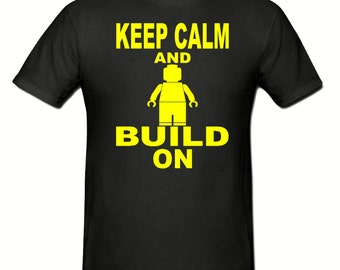 Keep calm & Build On t shirt, boys t shirt sizes 5-15 years,children's lego t shirt