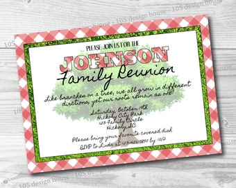 Family Reunion Invitation Printable -  Family Reunion Invite - Picnic Invitation - Customizable for any type of party