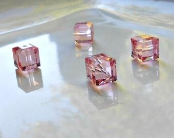 4 Rose Swarovski Cube Beads, 8 mm Rose Cubes, Swarovski, Cubes, Beads, Supplies, Jewelry Supplies, Bead Supplies, Jewelry Making