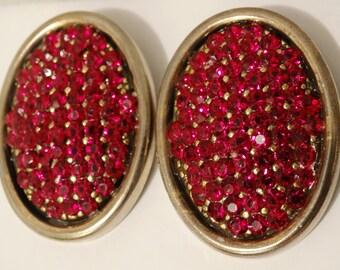 Vintage Red Rhinestone Cip-on Earrings