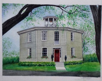 Custom watercolor House painting-Original Hand painted watercolor portrait-Villa-villadom-Building-Landscape and etc from photos